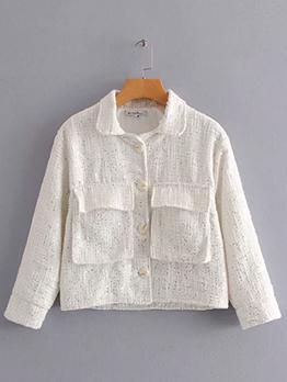 Winter Spread Neck Pocket Solid Womens Short Coat