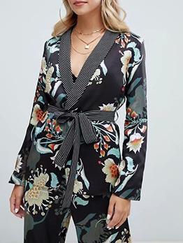 Autumn Spread Neck Printing Binding Womens Coat