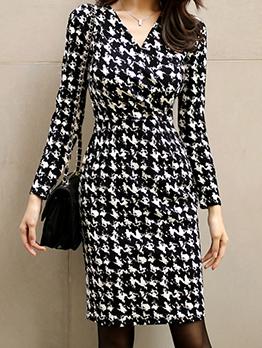 Korean Houndstooth V Neck Black And White Dress