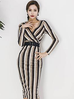 Attractive Striped V Neck Slit Wrap Dress