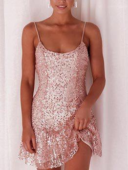 Backless Ruffles Hem Blush Sequin Dress