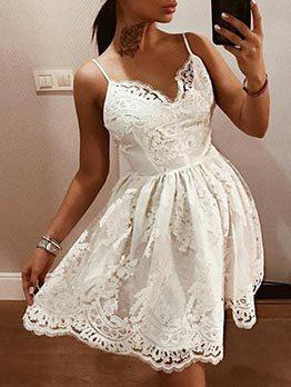 Backless V Neck White Lace Sleeveless Dress