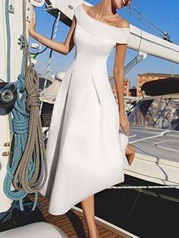 Elegant Off The Shoulder White Maxi Dress