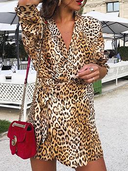 Leopard Print Tie-wrap Long Sleeve Wrap Dress