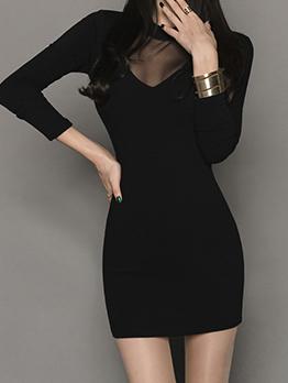 Korean Patchwork Gauze Black Bodycon Dress
