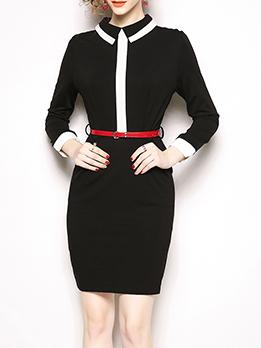 OL Style Turndown Collar Black And White Dress