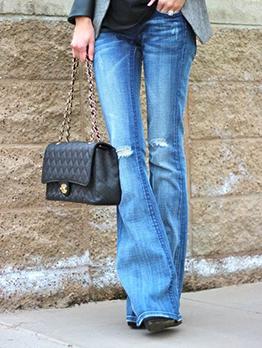 Euro High Waist Elastic Flare Pants For Women