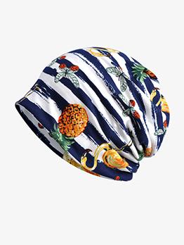 Fashion Striped Printed Versatile Pullover Hat Unisex