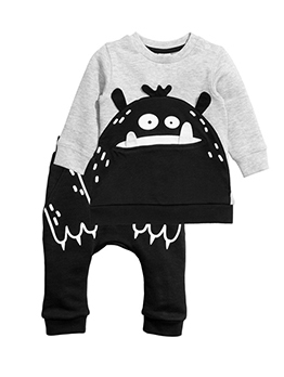 Monster Design Color Matching Baby Boy Outfits