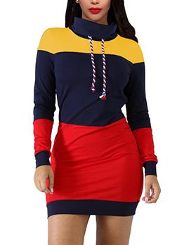 Hot Sale Color Block Striped Patchwork Women Dress