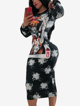 Hot Sale Poker Print Fitted Fashion Women Dress