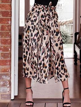 Hot Sale Leopard Printed Slit Loose Pants