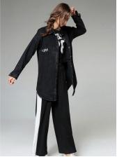 Fashionable Printed Turnsown Neck Black Denim Jacket