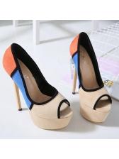 Elegant Contrasting Colors Peep-Toe Platform High Heels