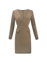Hot Sale Solid Buttons Fitted Fashion Sexy Dress