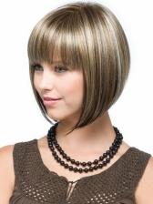 Bob Cut Neat Bang Colormix High Temperature Fiber Synthetic Wigs