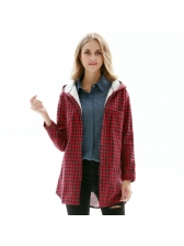 Winter Thicken Plaid Hooded Neck Women Blouse