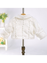 Solid Fashion Tie-wrap Coat For Girl