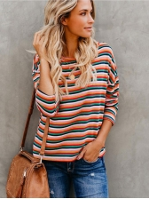 Striped Rainbow Colors Casual Women T-Shirt