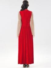 Halloween Fashion Color Block Patchwork Royal Dress