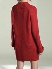 Winter O Neck Long Sleeve Sweater Dresses