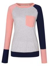 Winter Contrasting Colors Pocket Loose Women T-Shirt