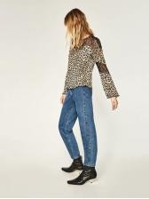 Euro Lace Patchwork Leopard Women Blouse