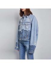 Chic Patchwork Holes Denim Jacket For Women