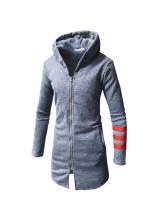 New Arrival Contrast Color Hooded Zipper Coats