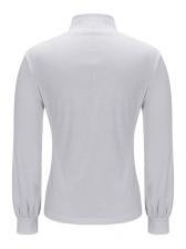 Euro Button High Neck Solid Women T-Shirt