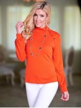 Elegant Pure Color Loose Female T-Shirt