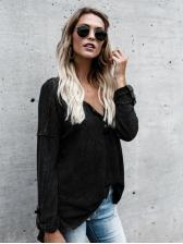 Euro V-Neck Black Knitted Top For Women