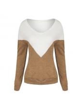 Euro V-Neck Patchwork Loose Design T-Shirt