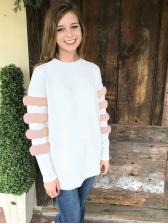 Euro Plush Patchwork Round Neck Women Sweatshirt