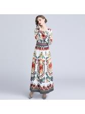 Fashionable Printing Crew Neck Long Sleeve Dresses