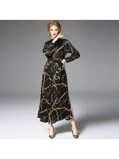 Graceful Printing Stand Collar Pleated Tie-wrap Long Dresses