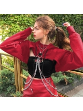 Fashion Hot Sale Hooded Collar Solid Short Blouse
