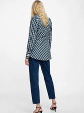Fashion V Neck Plaid Asymmetrical Blouses