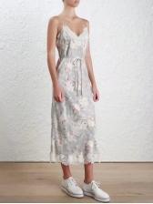 Attractive Floral Patchwork Lace V-neck Strap Dresses