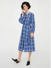 Stylish Plaid Single-breasted Tie-wrap Lantern Sleeve Shirt Dresses