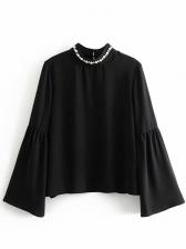Studded Patchwork Flare Sleeve Black Blouses