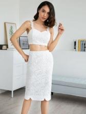 Sexy Sleeveless Lace Slit Two Piece Sets
