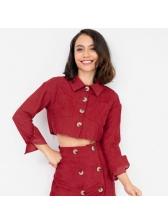 BF Turndown Neck Pocket Cropped Jacket For Women