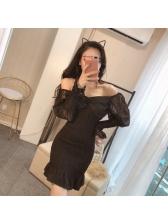 Attractive Lace Patchwork Ruffles Hem Bodycon Dresses