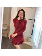 Autumn Ruffled Hem Solid Pleated Long Sleeve Dress