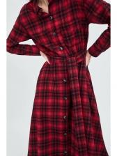 Fashion Plaid Single-breasted Turndown Collar Tie-wrap Dresses