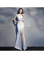 Boutique Deep V Rhinestone Hollow Out Split Dresses