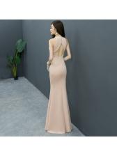 Deep V Rhinestone Hollow Out Boutique Evening Dresses