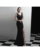 Sexy V Neck Rhinestone Split Fitted Boutique Dresses