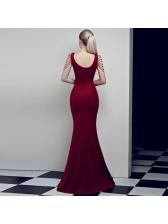 Boutique Rhinestone V Neck Split Fitted Dresses